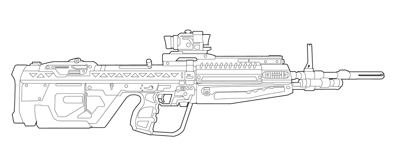 One Line Art Gun : Halo m dmr lineart by masterchieffox on deviantart