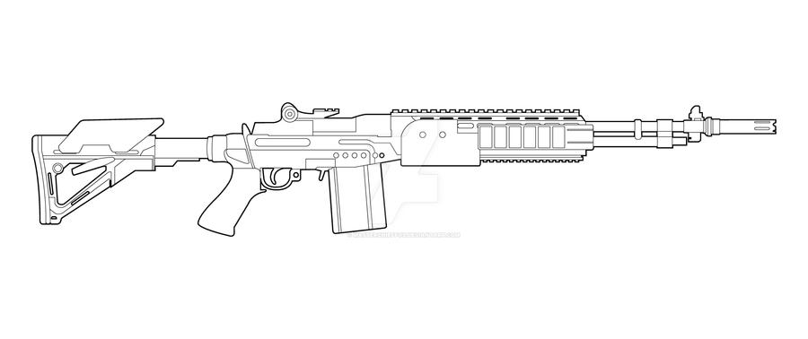 Line Art Gun : M ebr lineart by masterchieffox on deviantart