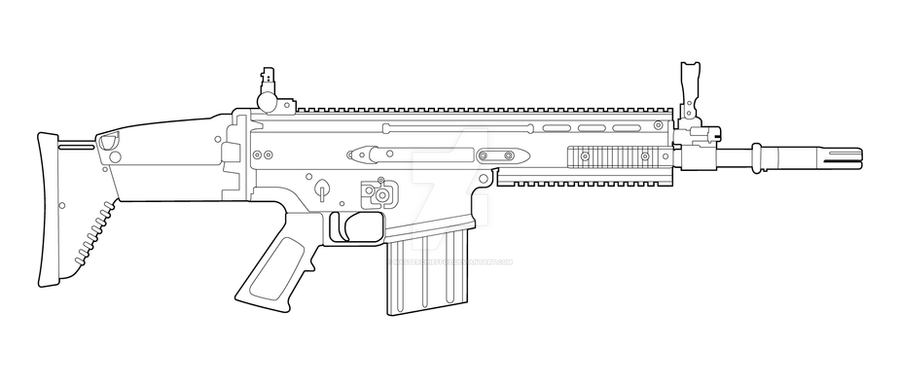 Fn scar h lineart by masterchieffox on deviantart for Scar coloring page