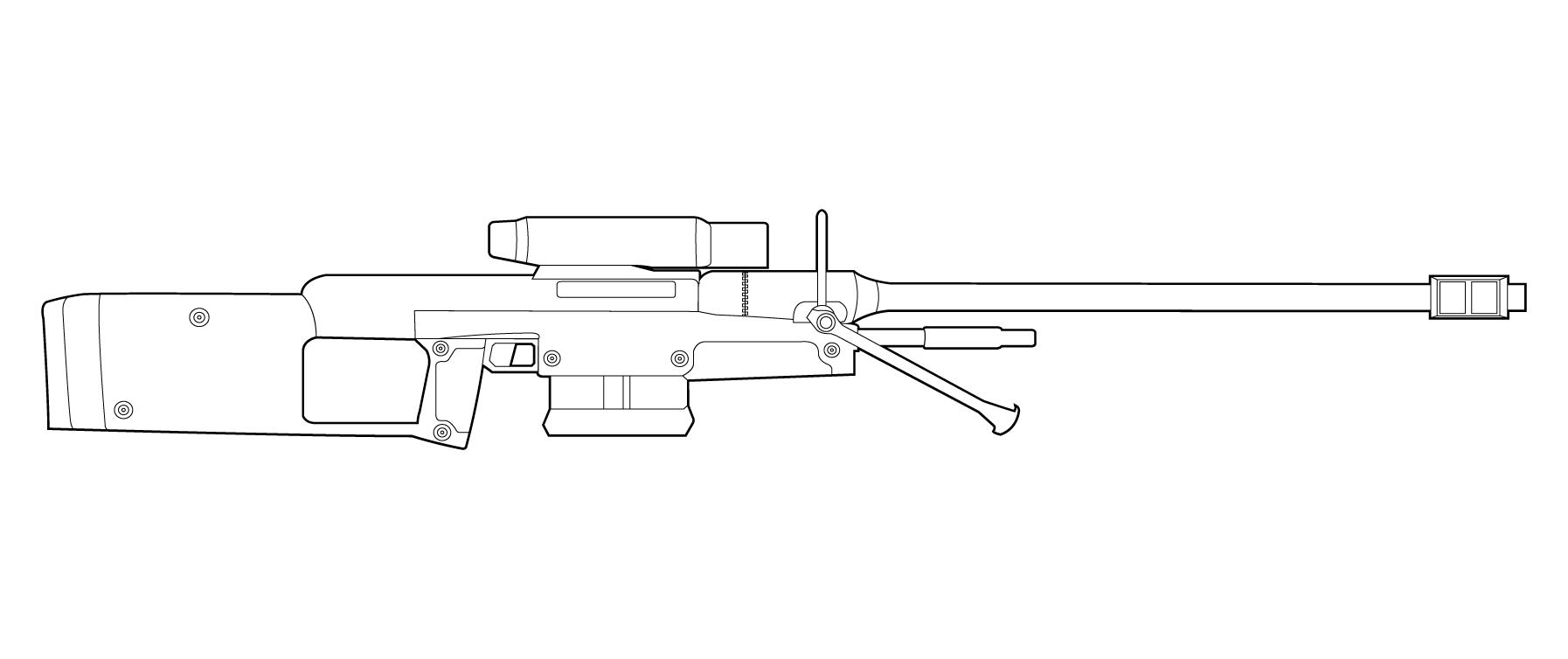 One Line Art Gun : Halo sniper rifle drawing pixshark images
