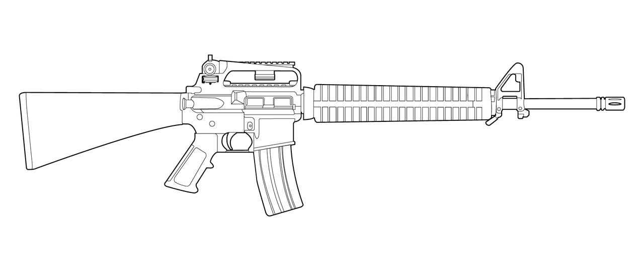Line Drawing Gun : M a lineart by masterchieffox on deviantart