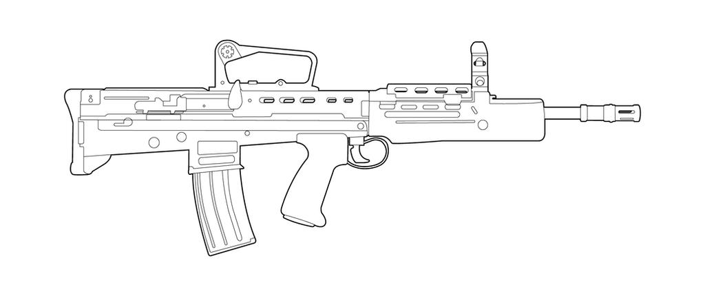One Line Art Gun : Sa lineart by masterchieffox on deviantart