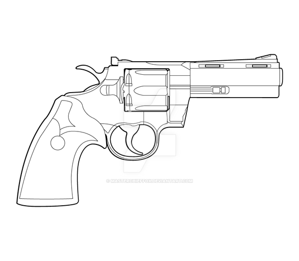 One Line Art Gun : Colt phyton lineart by masterchieffox on deviantart
