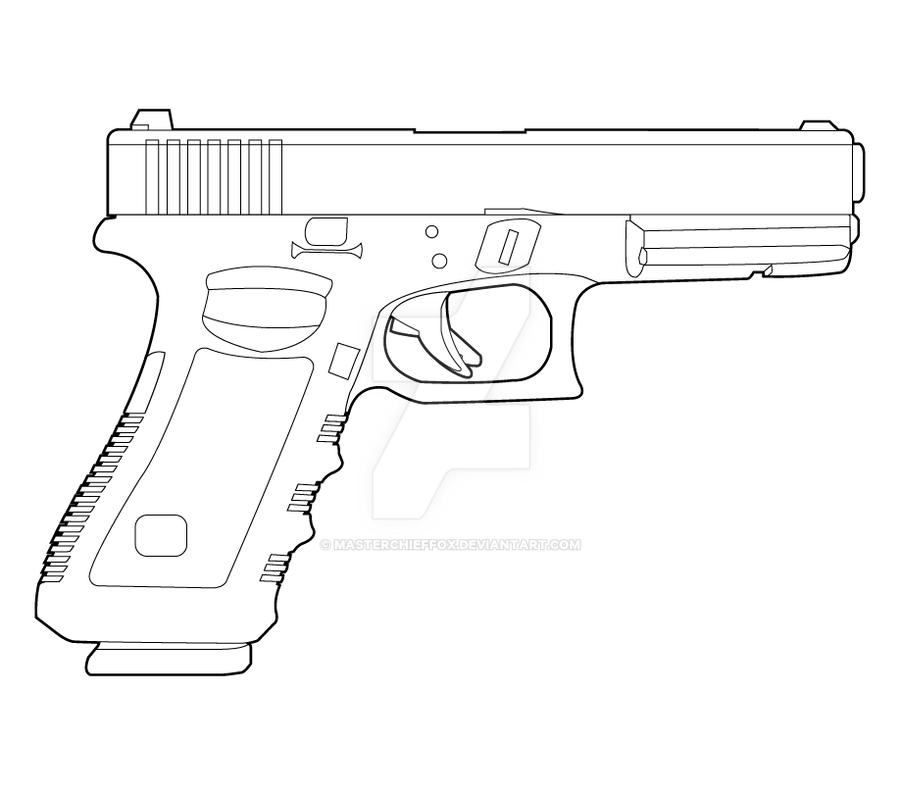 One Line Art Gun : Glock lineart by masterchieffox on deviantart