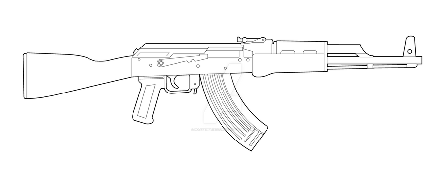 One Line Art Gun : Ak lineart by masterchieffox on deviantart