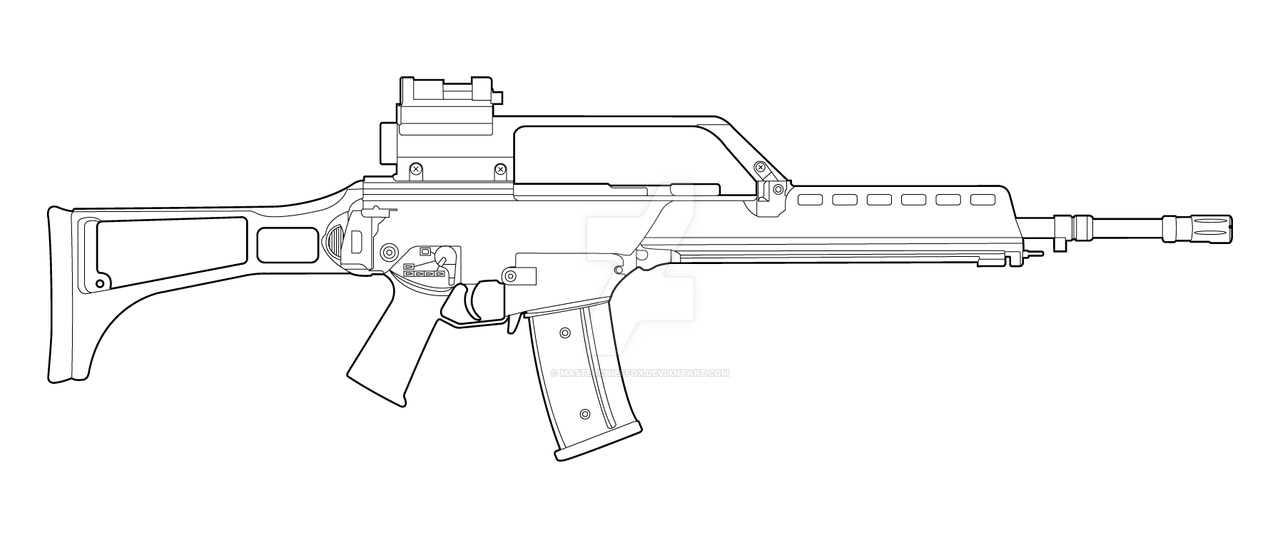 One Line Art Gun : Hk g lineart by masterchieffox on deviantart