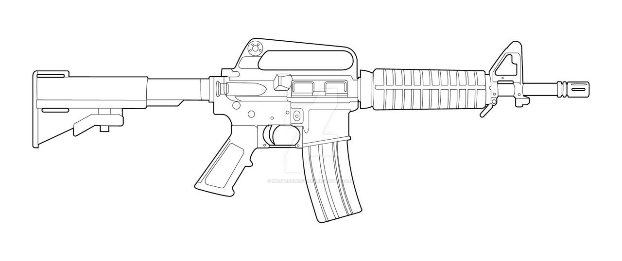 One Line Art Gun : Colt m commando lineart by masterchieffox on deviantart
