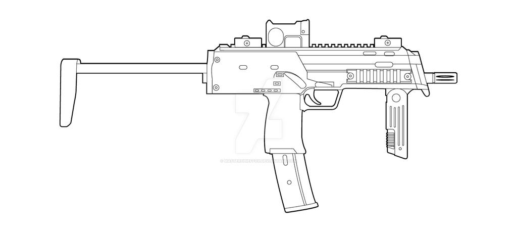 Line Art Gun : Hk mp lineart by masterchieffox on deviantart