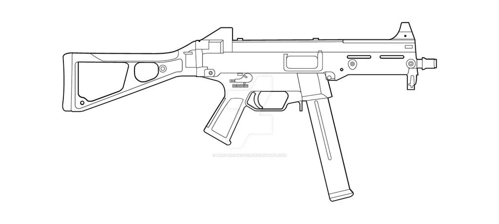 One Line Art Gun : Hk ump lineart by masterchieffox on deviantart