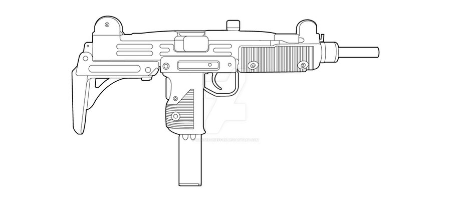One Line Art Gun : Imi uzi lineart by masterchieffox on deviantart