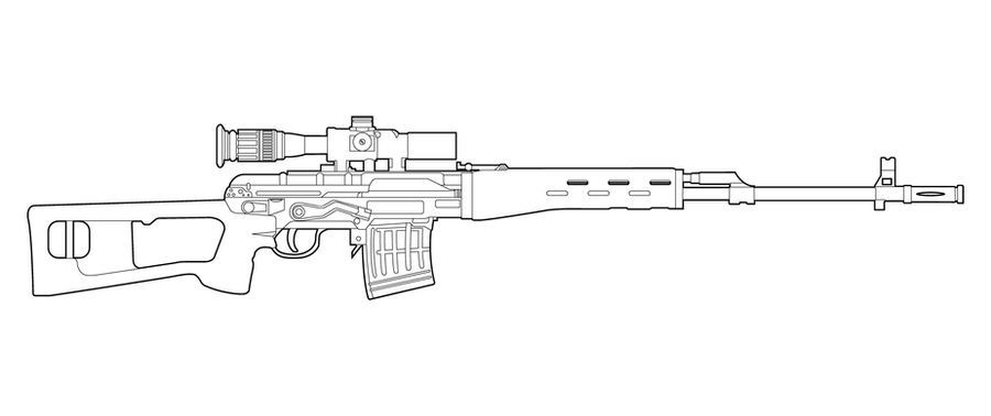One Line Art Gun : Svd dragunov lineart by masterchieffox on deviantart