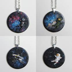 Galaxy Pendants by BeanieBat