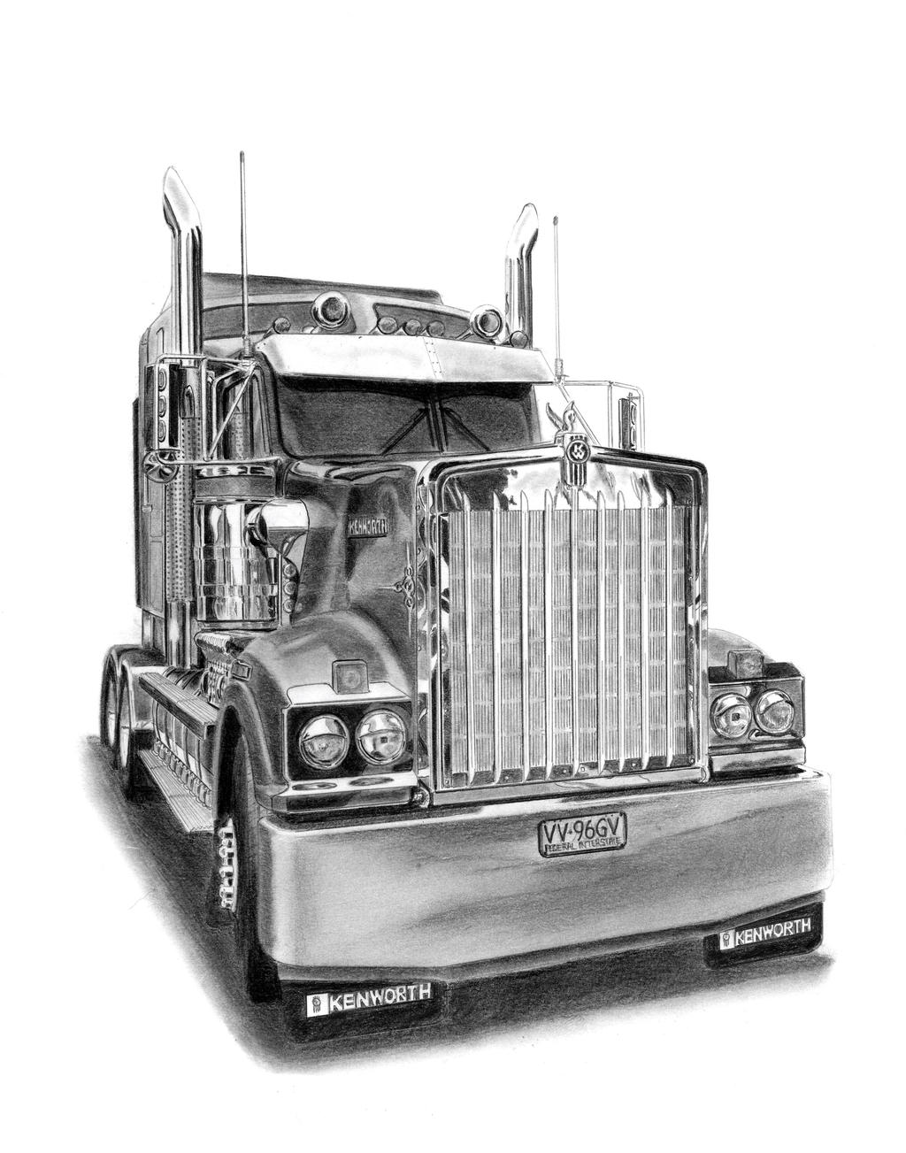 how to draw a 3d 18 wheeler