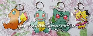 Pokemon Kanto keychains by Alien-Snowflake