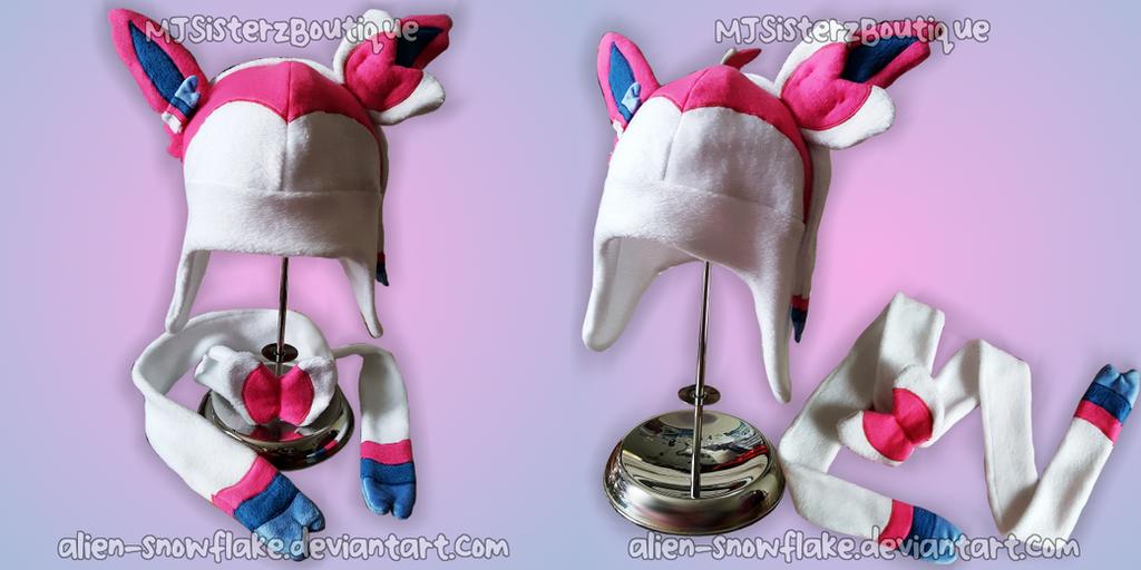Pokemon Sylveon Fleece Hat Scarf by Alien-Snowflake