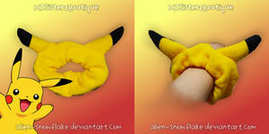 Pokemon Pikachu hair tie tye scrunchie by Alien-Snowflake