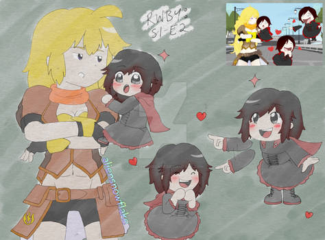 RWBY S1 E2 Yang and Ruby redraw