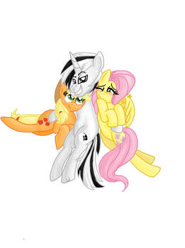 Request: Ghost dude, Fluttershy, and AJ