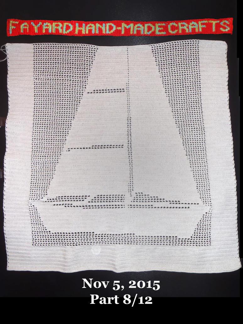 Commission: Filet Crochet Boat Curtain, Part 8/12 by FayardHandMadeCrafts