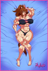 Commission: Muscle Girl Sakura Dakimakura (front) by Rukasusan