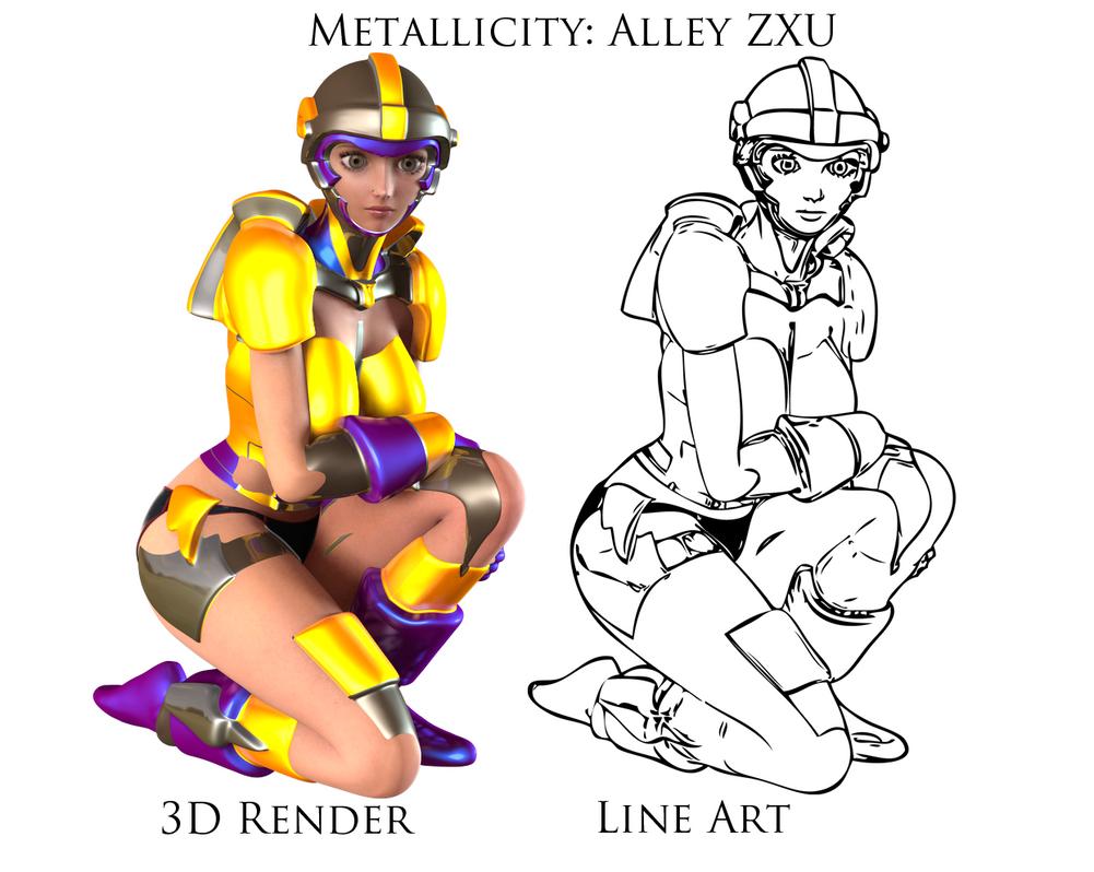 Line Art Render : Metallicity alley zxu render and line art comp by xzeroman