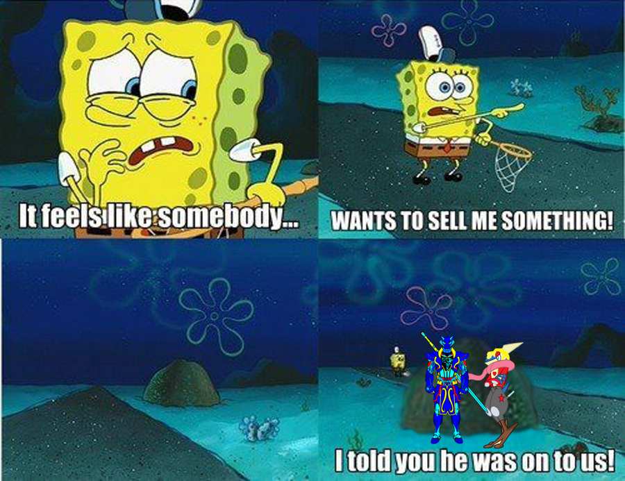 Me and wolfblade try to sell Spongebob something by pokekid333