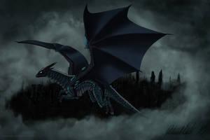 Dark armorplate dragon Noxus flies in the skies by Vapolord