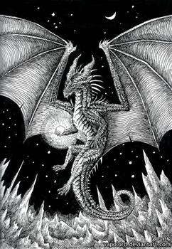 Inktober #18 Space-Dragon