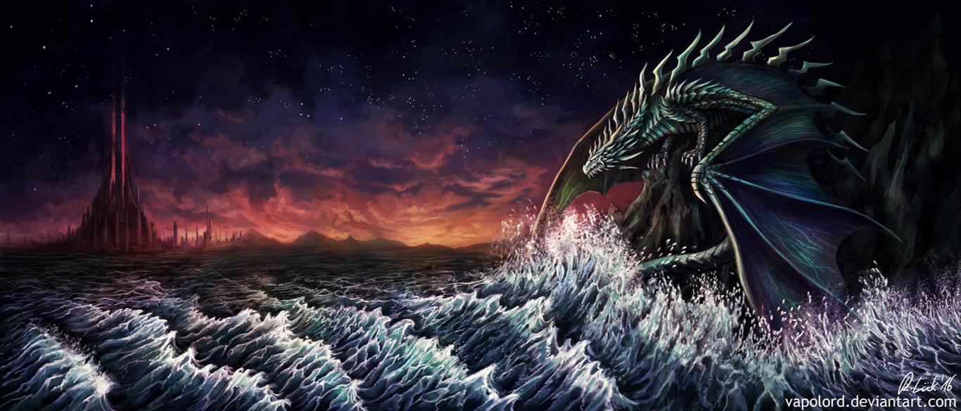 The Old Dragon And The Sea by Vapolord
