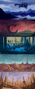 Various Scifi- Landscape Sketches by Vapolord