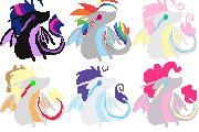 Mane 6- Dragons by liighty