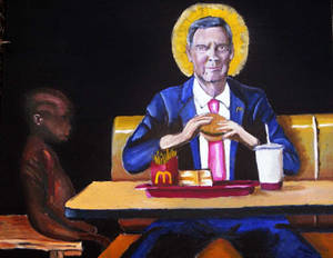 McDonalds CEO eats burger in front of starving chi