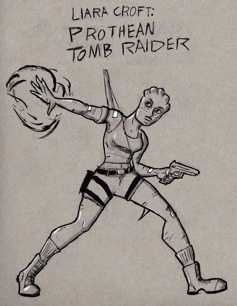 Liara Croft: Prothean Tomb Raider by TheNoirGuy