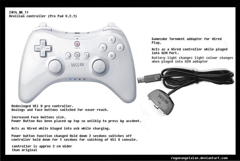 2014 08 11 Wii U Pro Controller Concept 2 by RogueAngelAlan
