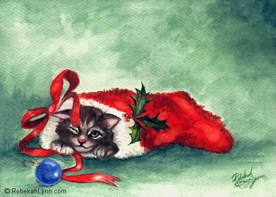 Christmas Kitten by rebekahlynn