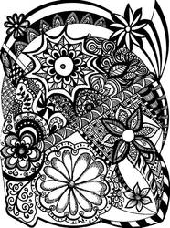 Black-and-white zentangle 1