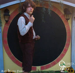 Frodo in front of Baggins House