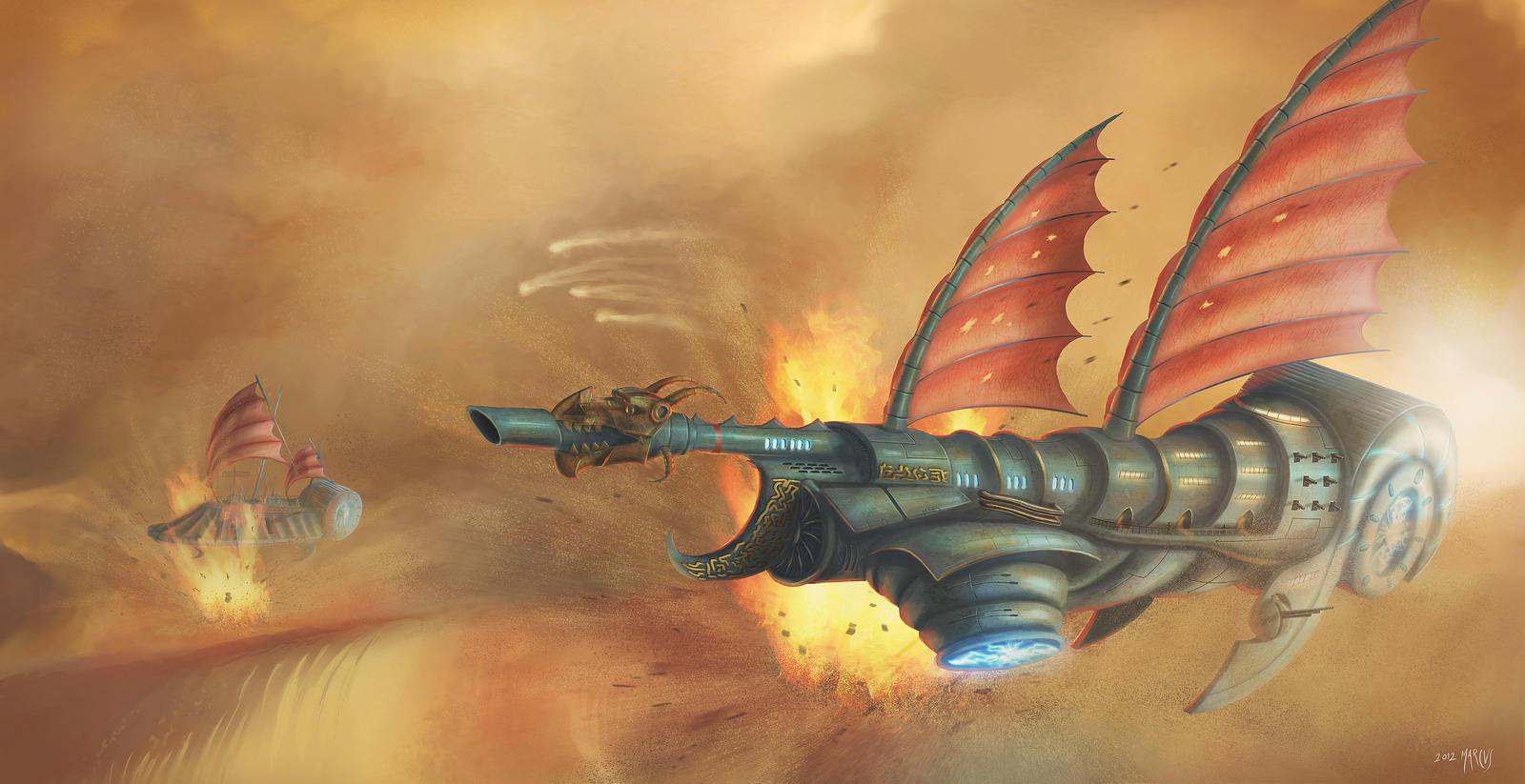 Dune Dragon Attack by Elderscroller