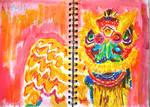 pink lion dance :3 rawr