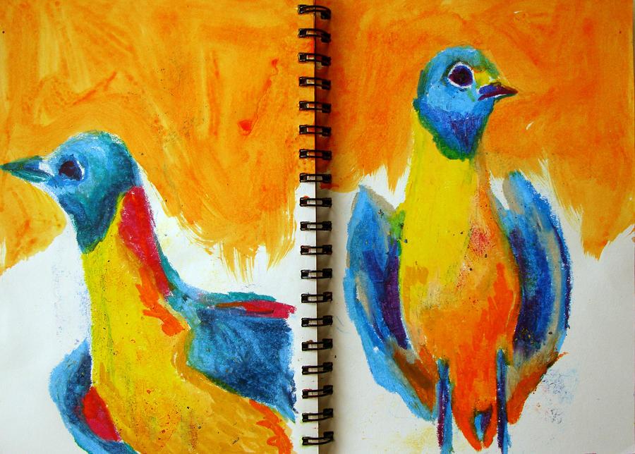 orange juice pigeons by fuzzyzebra