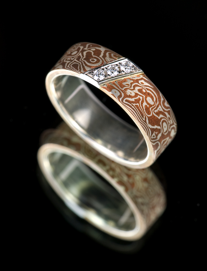 rings wedding mokume diamond custom flat mens band