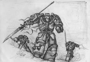 Grey Knights in battle by John-Stone-Art