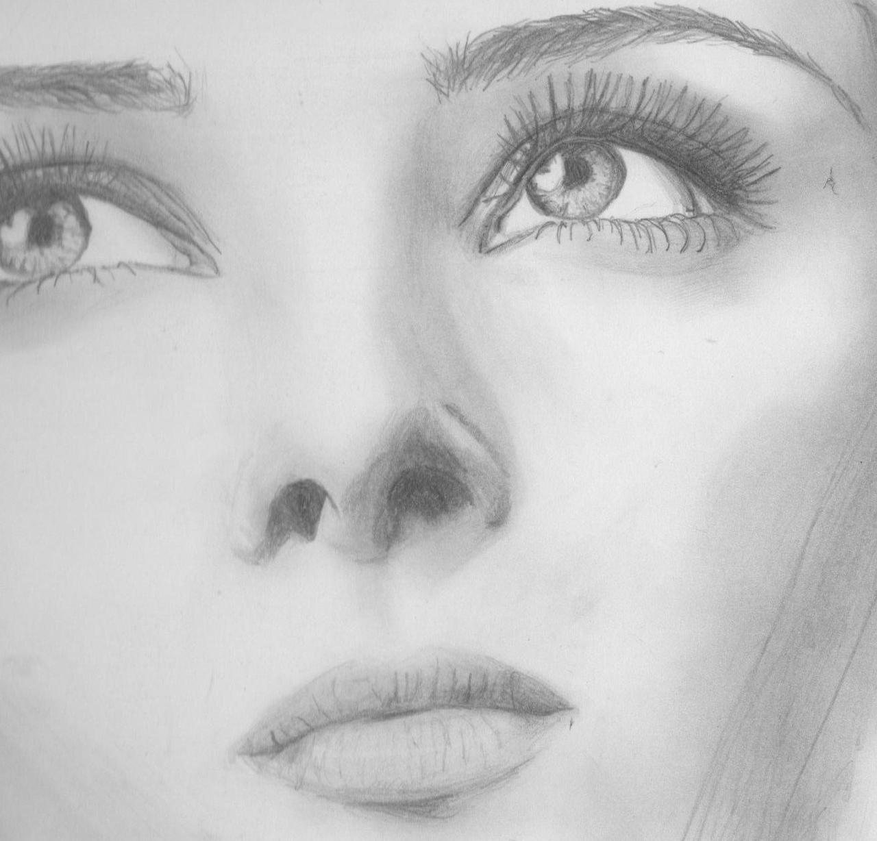 Close up of Model Face Sketch by mariannemasonFace Sketch Girl Tumblr