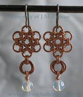 Copper Double Flower Earrings by cyborgbutterfly