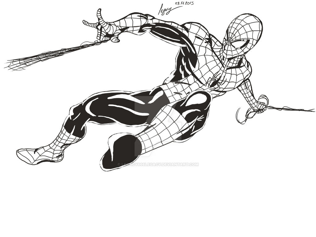 Line Art Man : Spider man line art by legacy on deviantart