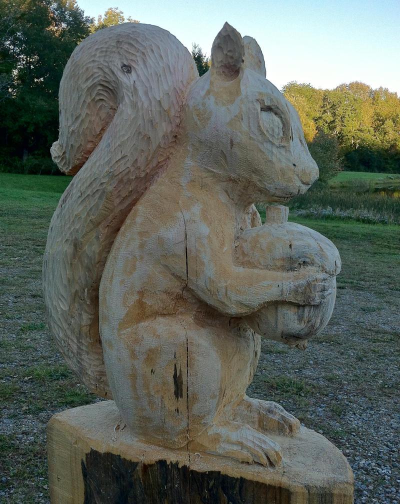 Squirrel carving by carvenaked on deviantart