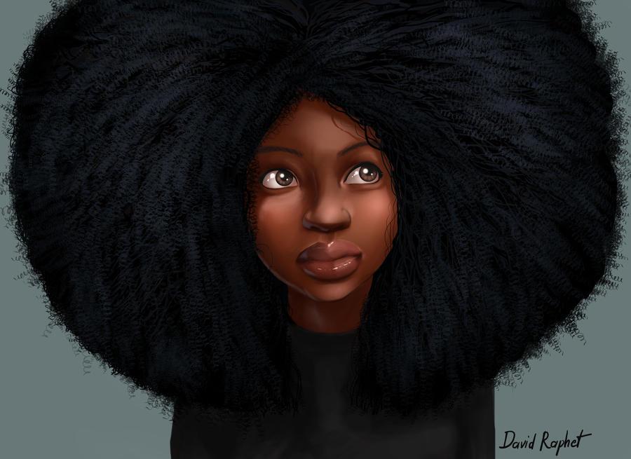 Afro by DavidRaphetBlack Women Afro Art