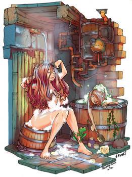 Meenerva's hot shower