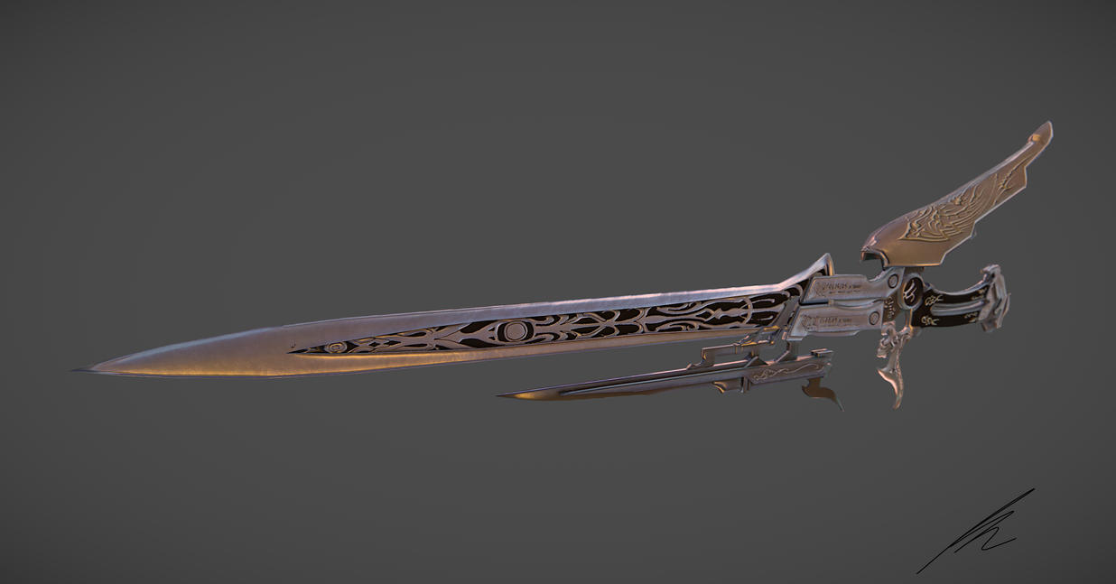 Final Fantasy XIII-2 Lightning's Gunblade 3d model by ptornot