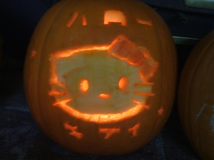 Kitty-Chan Pumpkin by Blizzardwind